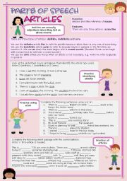 English Worksheet: Parts of speech (7) - Articles (fully editable)