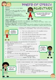 English Worksheet: Parts of speech (6) - Adjectives (fully editable)