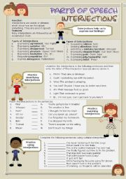 English Worksheet: Parts of speech (5) - Interjections (fully editable)