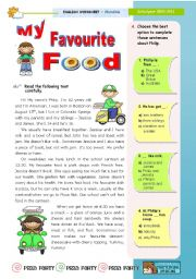 English Worksheet: My favourite food  -  Reading (leading to Writing)  for Upper Elementary & Lower Intermediate Sts.