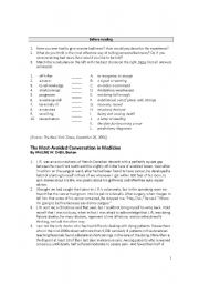 English Worksheet: Advanced Reading Assignment - The Most Avoided Conversation in Medicine