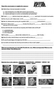 English Worksheets: Monster House Video Worksheet