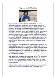 English Worksheets: Diego Armando Maradona