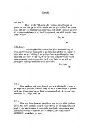 English worksheet: Informal email