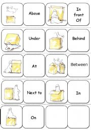 Preposition Dominoes + B/W version + Rules ( 5 pages )