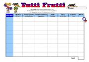 English Worksheets: GAME - Tutti Frutti - Wordsearch
