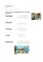 English Worksheets: animals letters scramble