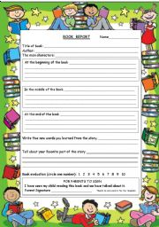 English Worksheet: Book Report Form
