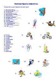 English Worksheet: Extreme Sports Adjectives