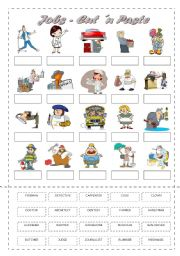 English Worksheet: Jobs - Cut and Paste Black and White Version Included