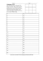 English Worksheets: Challenge Corner