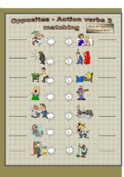 English Worksheets: Oppistes matching(2 of 3)