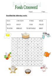 English Worksheet Foods Crossword