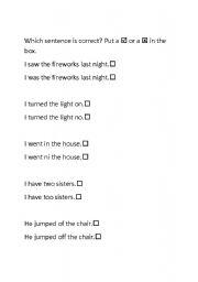 English Worksheets: correct the sentences