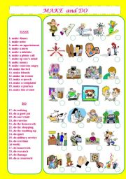 English Worksheets: Make and Do Phrases+Matching