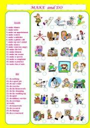 English Worksheet: Make and Do Phrases+Matching