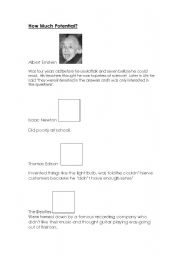 English Worksheets: How Much Potential