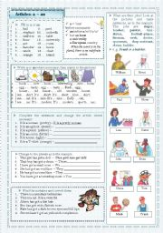 English Worksheet: The Indefinite Article: a/an