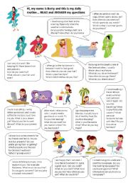 English Worksheets: Betty and her activities - read and answer the questions