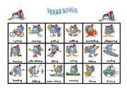 English Worksheets: Verbs Bingo (1 of 2)