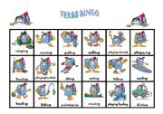 English Worksheets: Verbs Bingo (2 of 2)