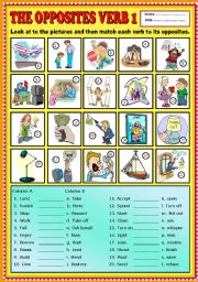 English Worksheets: The Opposites Verb part 1 + KEY