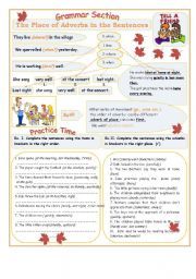 English Worksheet: The Place of Adverbs in the Sentences