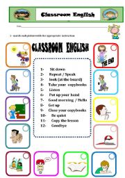 English Worksheet: classroom english