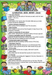 English Worksheets: ALTERNATIVE  BOOK  REPORT  IDEAS