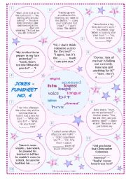 English Worksheets: JOKES � FUNSHEET NO. 4 � BLACK & WHITE VERSION AND ANSWER KEY INCLUDED � FULLY EDITABLE � GOOD FOR ADULTS, TOO!!