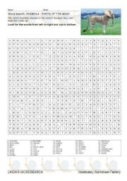 English Worksheets: WORDSEARCH: PARTS OF THE ANIMAL BODY