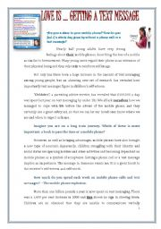 English Worksheet: MOBILE ADDICTIONS / TEXT MESSAGING