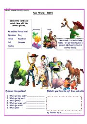 English Worksheets: Toy Story/ Toys/ Adjectives