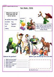 English Worksheet: Toy Story/ Toys/ Adjectives