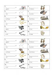 English Worksheets: Collective Noun Cards and Exercise