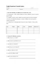 English Worksheets: descriptions
