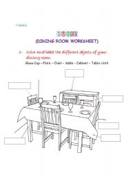 English Worksheet: Dining room worksheet