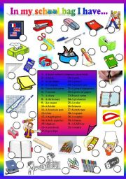 English Worksheet: school bag objects - matching exercise