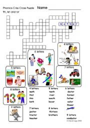 Phonics Criss Cross Puzzle: 4 versions included