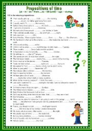 English Worksheet: Prepositions of time