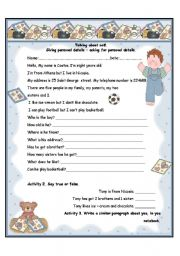 English Worksheets: Talking about self