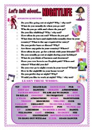 English Worksheet: LET�S TALK ABOUT NIGHTLIFE (SPEAKING SERIES 68)
