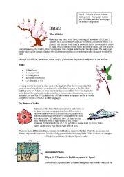 English Worksheets: Writing Haikus