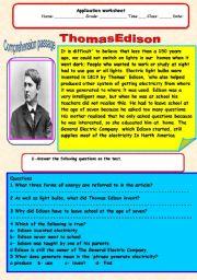 English Worksheets: Edison