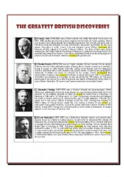 English Worksheets: The Greatest British Discoveries