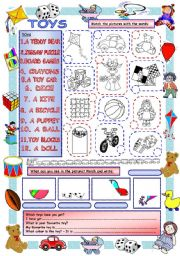 English Worksheets: Elementary Vocabulary Series11 - Toys