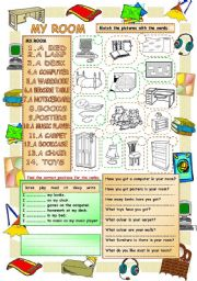 English Worksheets: Elementary Vocabulary Series10 - My room