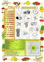 English Worksheet: Elementary Vocabulary Series9-Fruit