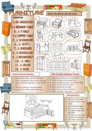 English Worksheets: Elementary Vocabulary Series7 - Furniture
