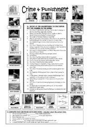 English Worksheets: Crime & Punishment - 8 exercises (+KEY)